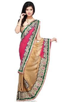 Fuchsia Faux Georgette and Faux Shimmer Chiffon Saree with Blouse @ $97.00