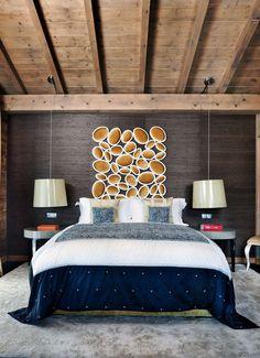 interior design, headboard, ski chalet, bedroom design, ceiling detail, ceilings, home decorations, bedrooms, chalets