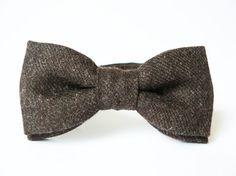 Mens bow tie by Bartek Design - groom wedding classic retro necktie chic handmade gift for him ready to wear - Dark Brown Chocolate Wool via Etsy