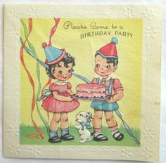 Vintage Birthday Party Invitation - Boy & Girl, Cake Party Hats - Circa 1945