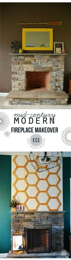 Fireplace Makeover Before and After wall art, house tours, modern fireplaces, fireplac makeov, diy decor, hexagon, fireplace update, christmas houses, fireplace makeovers
