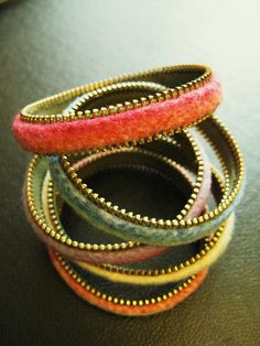 Zipper & Felt Stacking Bracelets