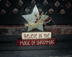 Christmas wood blocks Believe in the Magic stacker by jjnewton. , via Etsy.