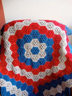 crochet hexagon afghan by zyrad, via Flickr