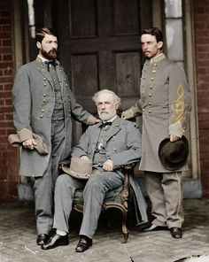 Robert E. Lee, his son General George Washington Custis Lee, and his Chief of Staff Colonel Walter H. Taylor