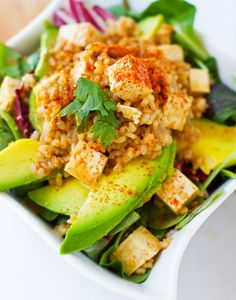We can't get enough spice—more, more, more! Bring on the Spicy Peanut Tofu Rice Salad with Avocado!
