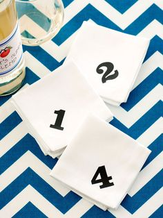 Help guests keep track of their drinks by numbering napkins with stamps. Find more entertaining tips: http://www.bhg.com/party/?socsrc=bhgpin073012numberedpartynapkins