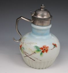 Victorian-Hand-Painted-Milk-Glass-Syrup-Jug-or-Pitcher