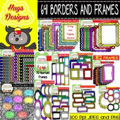 This mega bundle contains 641 elements: Color Borders and Frames for personal and commercial use:  Lots of different Styled Elegant borders  Lots of Square, circle, hearted and rectangular frames  Extra Classroom borders with class graphics to use along the year (great for writing creations)  Don't miss this mega bundle! You will save money and receive high quality elements!