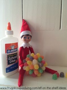 Dozens of Easy The Elf on The Shelf Ideas –  Elf Makes Gum Drop Ball #hotdeals #elfontheshelf #elfontheshelfideas