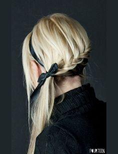 french braids, poni, headband, long hair, ribbon, bridesmaid, braided hairstyles, bow, waterfall braids