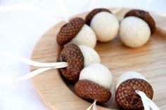 wool felted acorn