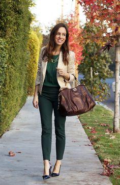 Sydne Style- Emerald monochromatic green blogger style