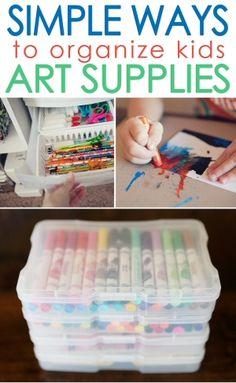 Simple Ways to Organize Kids Art Supplies {Organizing}
