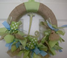 Burlap Ribbon Wreath in Blues & Greens for hospital door, your front door, nursery, or baby shower.