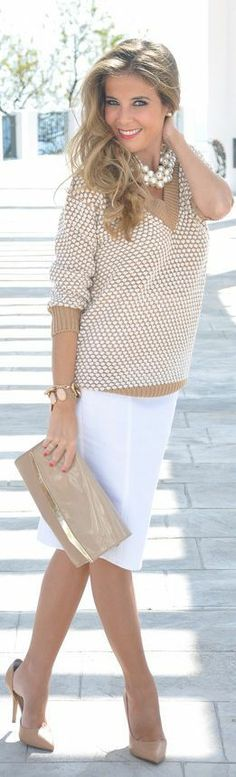 cream sweater, white skirt and cream handbag