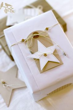 Wrapping in style! Idea via Craftionary. #laylagrayce #holiday #wrapping gift wrapping, christmas holidays, star, diy gifts, gift tags