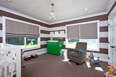 Project Nursery...like the big windows and stripes...playroom idea?