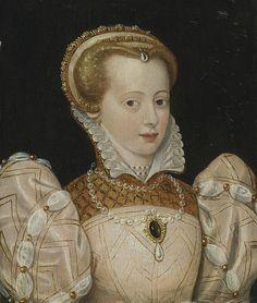 Portrait of a lady.  Date circa 1565  Medium oil on panel  Possibly Charlotte de Beaune Semblançay, Viscountess of Tours, Baroness de Sauve, Marquise de Noirmoutier. HUGE image at original site.