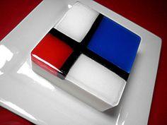 Red, white, blue and black geometric modern soap by Kokolele Soaps