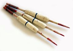 3 Vintage Wood Fishing Bobbers by albrechtsantiques on Etsy, $6.00