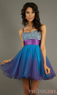 Short Spaghettti Strap Dress at PromGirl.com