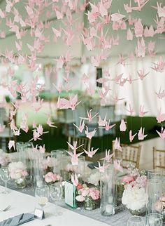 1000 paper cranes, pink paper cranes, origami paper, paper wedding decorations, paper crane wedding, paper cranes wedding