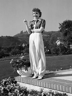 Claudette Colbert at her Hollywood home, 1930s