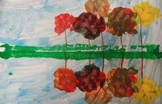 Art in the Big Green Room: 1st grade Fall Reflections tree water, art projectsfal, water reflect, grade fall, art lesson, elementari art, fall trees, fall reflect, green room