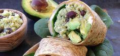 Quinoa Wraps with Black Beans, Feta and Avocado