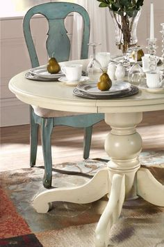 Blue antique-style dining table and chairs from Home Decorators! Love. decor, blue chair, kitchens, dining rooms, dining room furniture, kitchen tables, painted kitchen table, kitchen chairs, dining sets