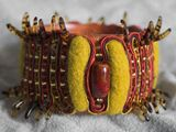 A real tribal feel—The red and olive, soutache and felt bangle