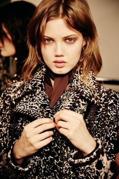 Lindsey Wixson in a printed ponyskin coat backstage at Emilio Pucci AW14 MFW. More images here: http://www.dazeddigital.com/fashion/article/18981/1/emilio-pucci-aw14