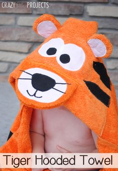 Tiger Hooded Towel Pattern and Tutorial by Crazy Little Projects