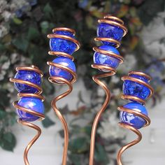 Glass Copper Garden Markers - Plant Stake Set - Yard Art Double Cobalt Whimsy Sticks~~