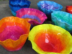 """Chihuly-inspired paper mache bowls; approx. 12"""" ---14"""" wide; lesson by art teacher: Susan Joe"""