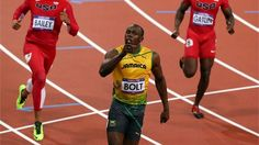 Usain Bolt of Jamaica crosses the line to win gold in the Mens 100m Final on Day 9 of the London 2012 Olympic Games at the Olympic Stadium.