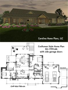 1799 sq ft craftsman style house plan with split bedroom layout, ideal for downsizing.