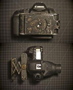 Jason Bognacki had a Contessa-Nettel Piccolette German folding camera from 1919 sitting around on his shelf for ages, and decided one day to bring it back to life by attaching it to his Canon 5D Mark II. fold camera, canon5d, mark ii, camera hack, 5d mark, len, old cameras, photographi, canon 5d