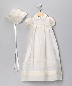 Antique White Girls Christening Gown & Bonnet - Infant