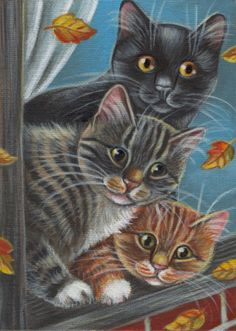 Cats Looking Through the Window - Fall Painting in Acrylics
