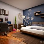 blue accent wall bedroom via homedesigners_us