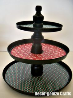 Tiered Dessert Plates -With interchangeable designs!  Made with stove burner covers from the dollar store!