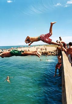 No diving board needed for youngbloods at Joseph Sylvia State Beach, on Martha's Vineyard. Although celebrities colonize much of the Vineyard in the summer, the public beaches are as fine as any on the Atlantic shore