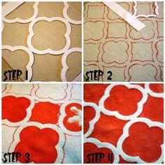 DIY : free printable Quatrefoil pattern. Learn how to stencil on canvas and make your own place mats!