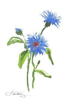 Blue Flowers Watercolor.