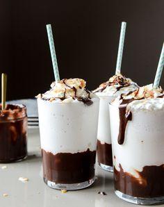 coconut hot fudge milkshakes I howsweeteats.com