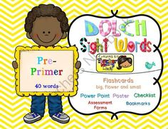 Dolch Sight Words PRE-PRIMER [Bookmarks, Flashcards, Powerpoint and more] from Teacher Mommy on TeachersNotebook.com -  (120 pages)  - Complete 40 PRE-PRIMER Dolch Sight Words or high frequency words. Activities, Printables and Powerpoint Presentation's Slideshow for Teachers and Students