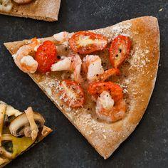 Shrimp and Garlic Pizza (Instant Get-Together) by health.com: 161calories/slice #Pizza #Shrimp #Healthy