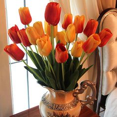 Wholesale Silk Yellow,Red,White Tulip Flowers Arrangement